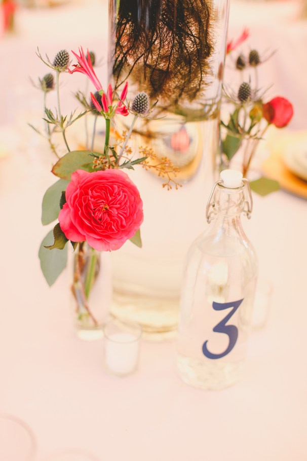 Water bottles used for table numbers