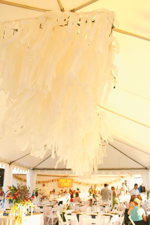 Crepe paper and pvc DIY chandeliers