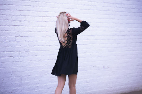 Womens Fashion Lace up Dress with Lace