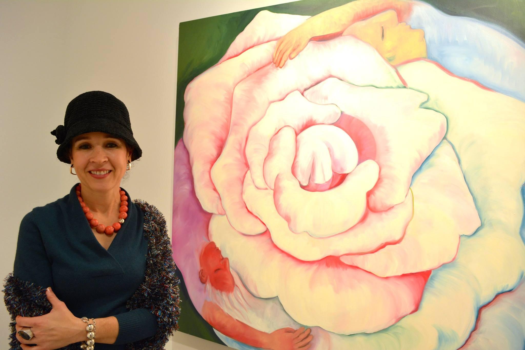 Monika Ruiz with Yin Yang painting