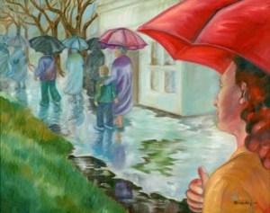 Monika Ruiz Art - Rain in Town