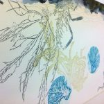 Monotype with seaweed, stitching, ink, on paper