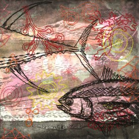 'A fishy Story II' - Layered works starting with monotypes made with seaweed and with coloured and black stitching.