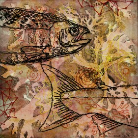 'A fishy Story I' - Layered works starting with monotypes made with seaweed and with coloured and black stitching.
