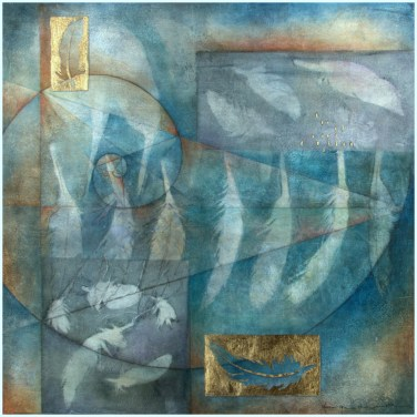 30 x 30 cms, Mixed media with monoprint collage