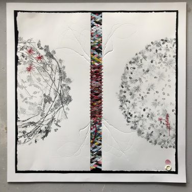 Mixed media construction with monoprints, embossing and stitching