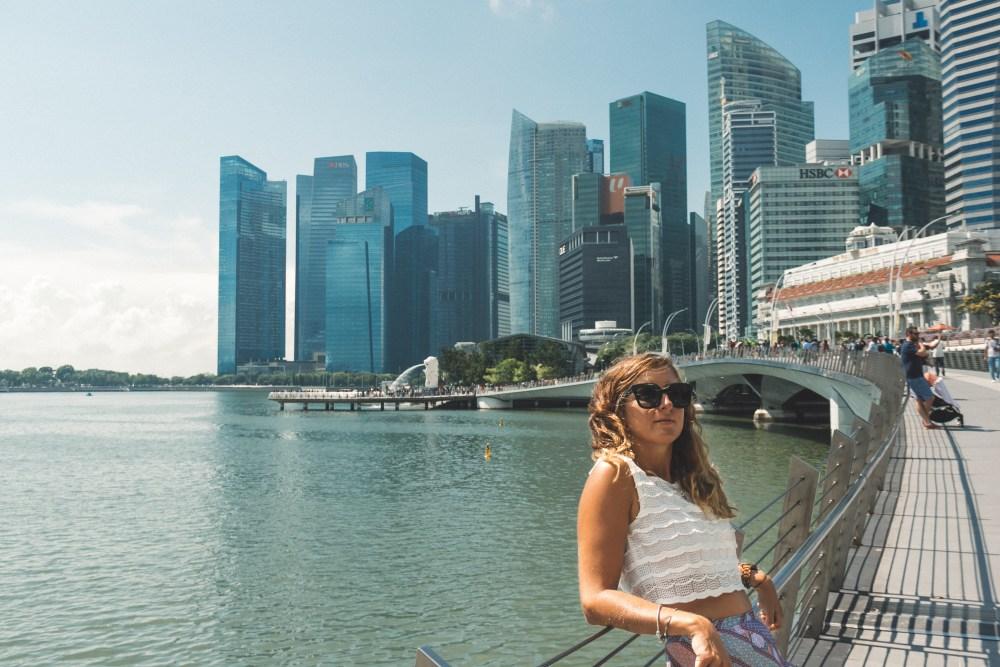 Girl on Millennium Bridge Singapore Marina Bay Asia