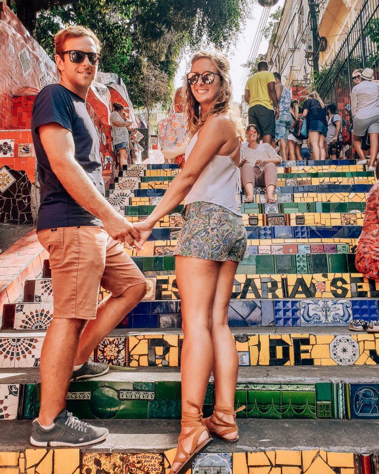 Escadaria Selarón Couple Rio de Janeiro Brazil South America