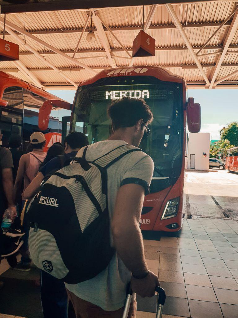 ADO Bus Cancun to Merida Mexico North America