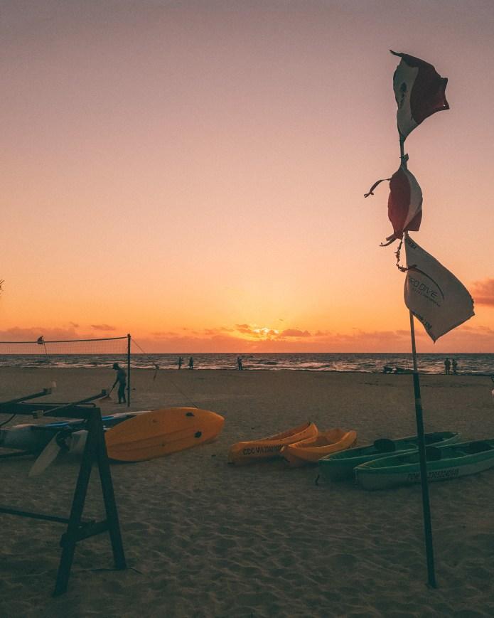 Beach Sunrise Playacar Mexico North America