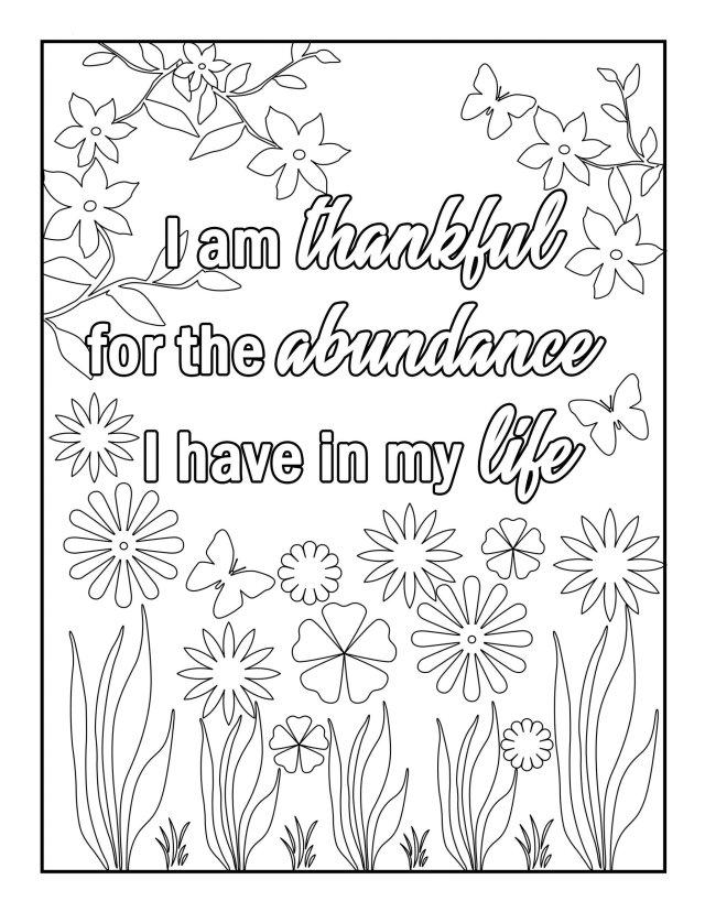 Gratitude Affirmations Coloring Book for Adults  Monique Math