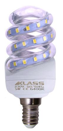 LED - Lichidare de stoc Bec Led – Klass spirala E14/ 5w 6400k  *TV 0,25ron