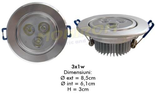 LED - Lichidare de stoc Spot Led   3x1w/2700k  *TV 0,25ron