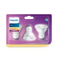 PHILIPS PH LED Bec GU10 4,7w (50w)  WW/2700k/345 lm – 3buc/set