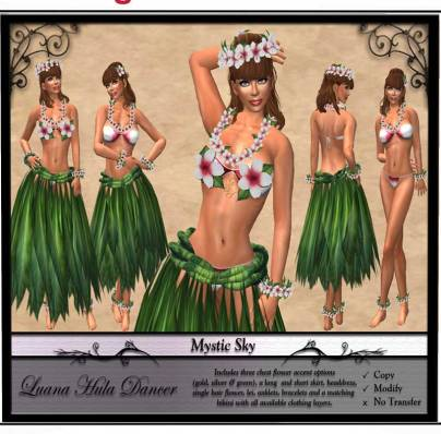 Mystic Sky Clothing Design - 450L http://maps.secondlife.com/secondlife/Fashion%20For%20Life3/38/226/23
