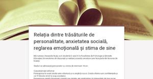 Relația dintre trăsăturile de personalitate, anxietatea socială, reglarea emoțională și stima de sine
