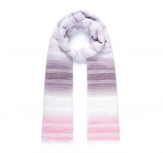 foulard lilas rayures blanches brodées