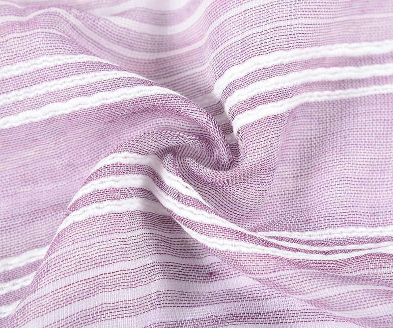 foulard lilas rayures blanches brodee