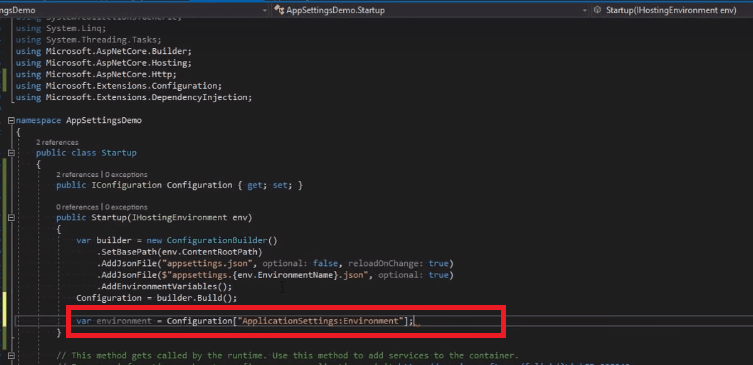 add configuration in appsetting.json file