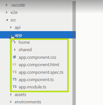 source files are under a folder called src in angular