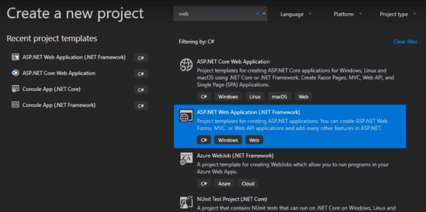 Create a asp.net core web application