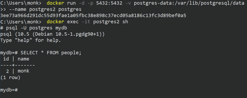 display postgres data in container