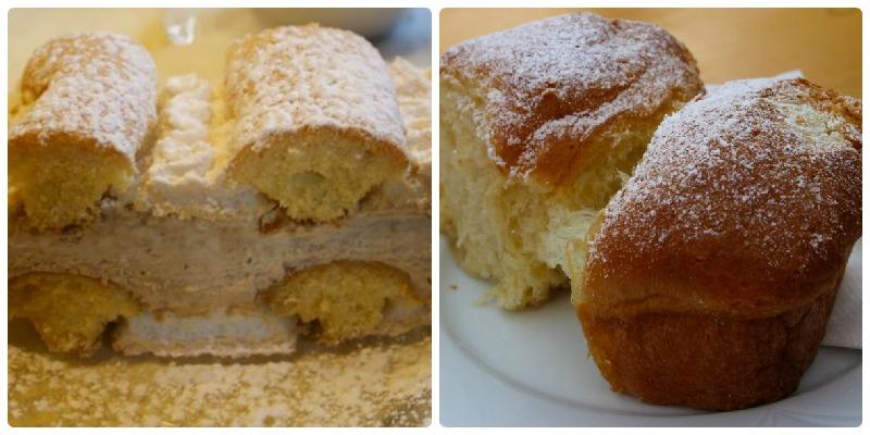 Topfenstrudel and Buchteln, 2 desserts found in Mostviertel, Austria.
