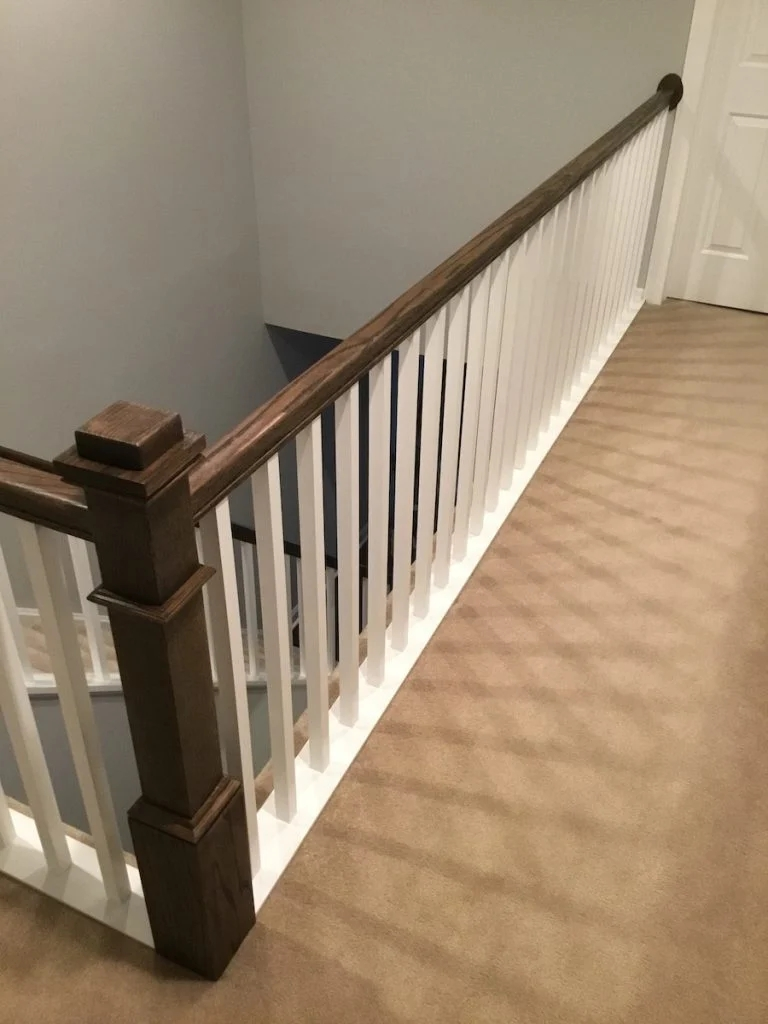 New Staircase Railing And Spindles Monk S Home Improvements   Hardwood Handrails For Stairs   Brown   Outdoor   Stairway   Light Wood   Colour Stair Painted Stair Railing