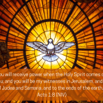 Stained glass window of a dove on an orange background, with Acts 1:8 written at the bottom