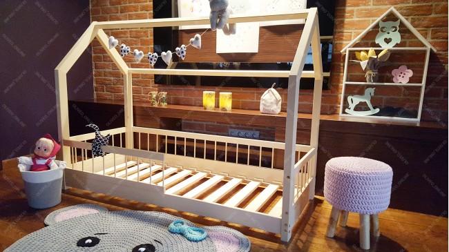 lit cabane lisa avec barriere 160 x 200cm