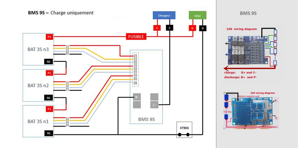 medium resolution of here is a schema in french for a 3x3s lipo and discharge bypass by