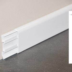 Plinthe passe-câbles PVC blanc - ouvert + schéma