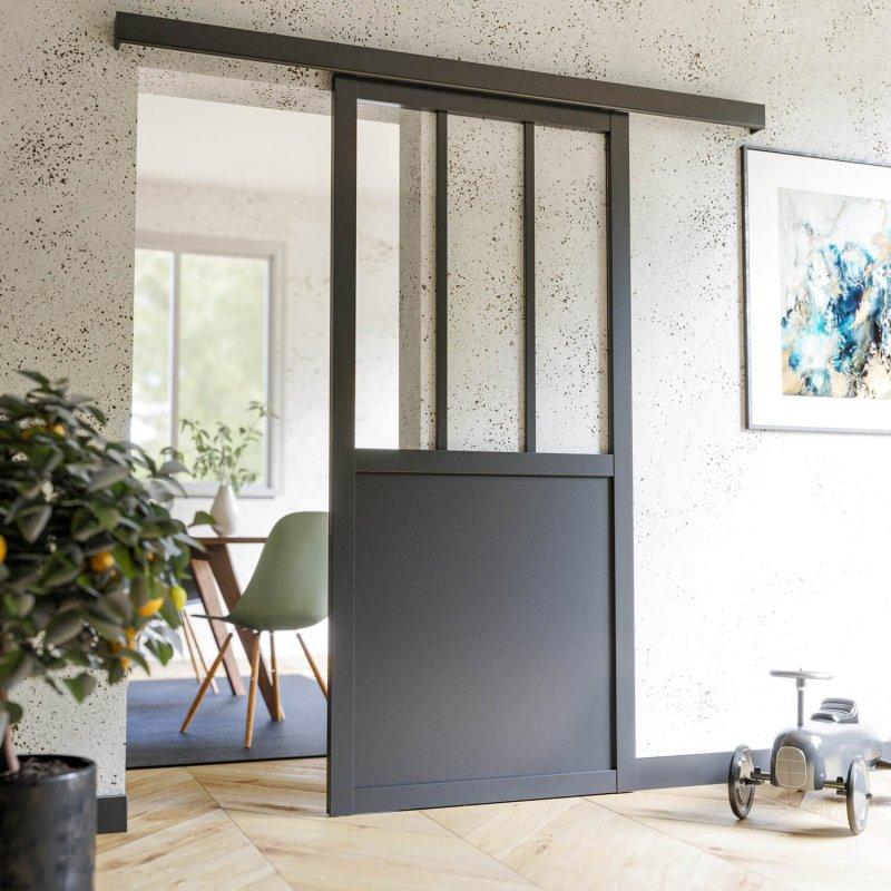 Porte coulissante Atelier noire sans poignée