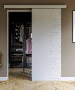 Porte coulissante gravée DRESSING typo 1 avec butée