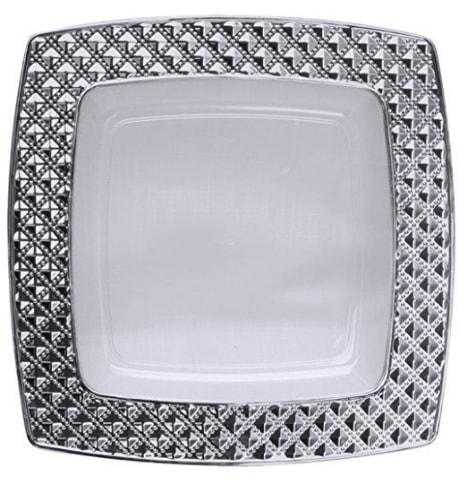 charlotte assiette carree jetable plastique rigide x 10 vaisselle luxe effet diamant deco mariage chic