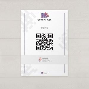 Visuel d'une affiche A3 avec le QR code pour pouvoir accéder au menu digital et au cahier de rappel digital