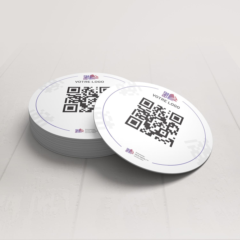 Visuel d'un dessous de verre avec le QR code pour pouvoir accéder au menu digital et au cahier de rappel digital