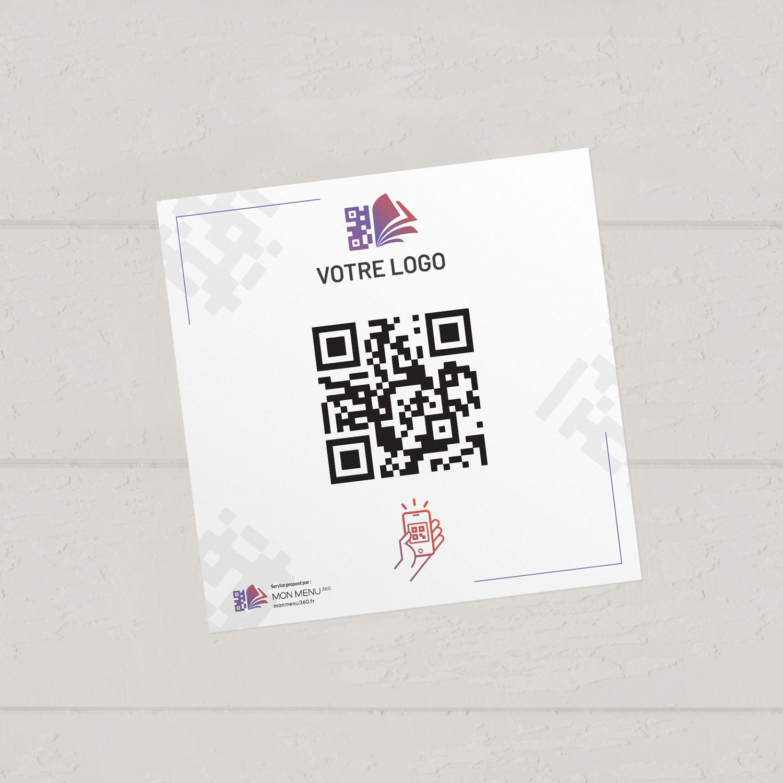 Visuel d'un sticker de 12 cm avec le QR code pour pouvoir accéder au menu digital et au cahier de rappel digital