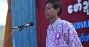 Nai Rot Sa gives a speech at a celebration of Mon National Day in NMSP's controlled area (Photo: Awe Mon)