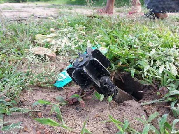 rocket shell left on the ground unexplored after the clash between DKBA and government troops (photo: Nyan Soe Win)