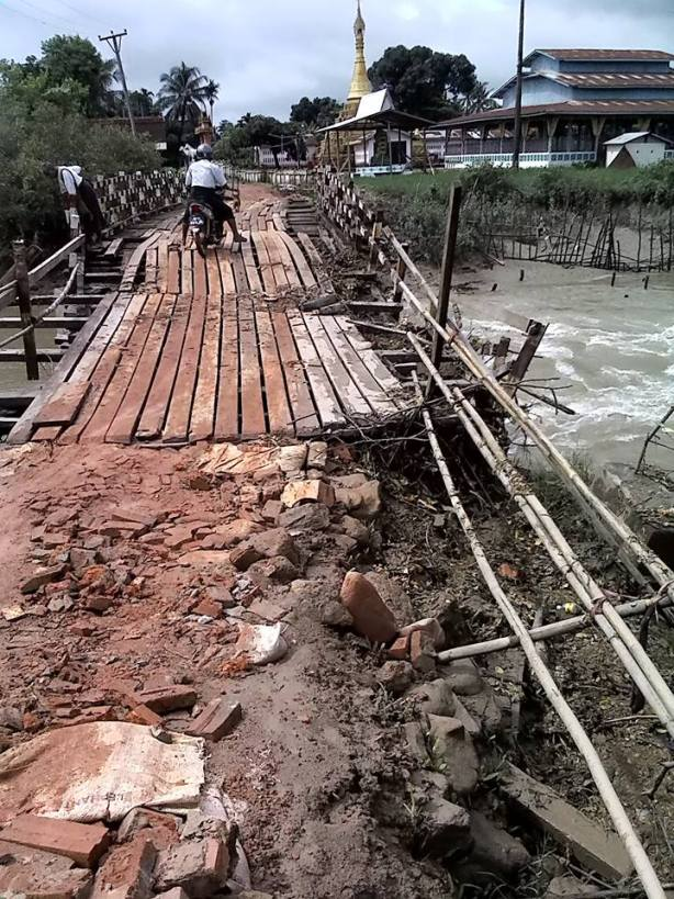 Kaw-lee Bridge remains unrepaired (Photo: Thanbyuzayat Facebook)