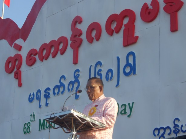 NMSP chairman Nai Htaw Mon gives speech at Mon National Day (Photo: IMNA)