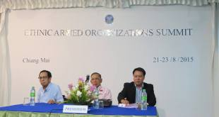 NMSP's chairman Nai Htaw Mon (middle), among leaders at the ethnic armed organization summit (photo: Facebook)