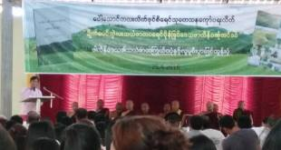Dr. Aung Naing Oo, deputy speaker of Mon State Hluttaw gave a speech at the report launch (Photo: Pharlain Watch)