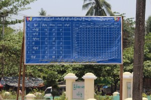 Signboard showing list of vehicle accidents in Moulmein District, 2015 (Photo: MNA)