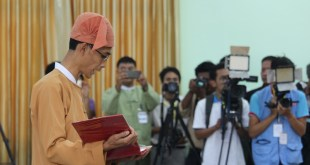 Mon State Chief Minister addressing the Hluttaw (Photo: MNA)