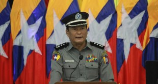 Mon State Police Chief Bo Bo Oo is addressing a speech (Photo: MNA)