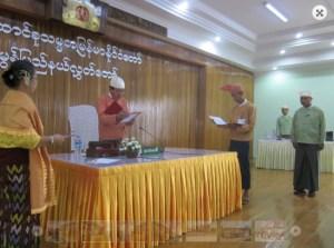 Chief Minister U Min Min Oo sworn in at Hluttaw (Photo: Mon Hluttaw)