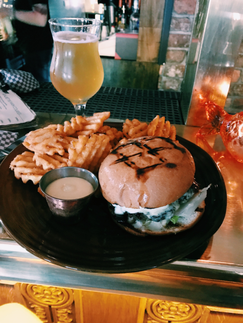 SAETA SVINID - The grilled burger (made from premium rump steak and short ribs, beer-brioche bun, red onion jam, Icelandic cheese, truffle mayo, waffle fries) with Einstök white ale