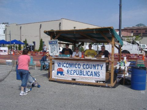 I actually took this picture of the Wicomico County Republican Club food booth just after they opened at 10 a.m. The lady was the first of many satisfied customers.